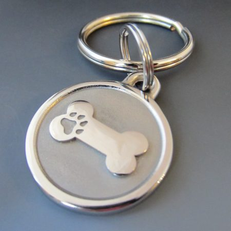 Large Stainless Steel Bone Engraved Pet Keychain