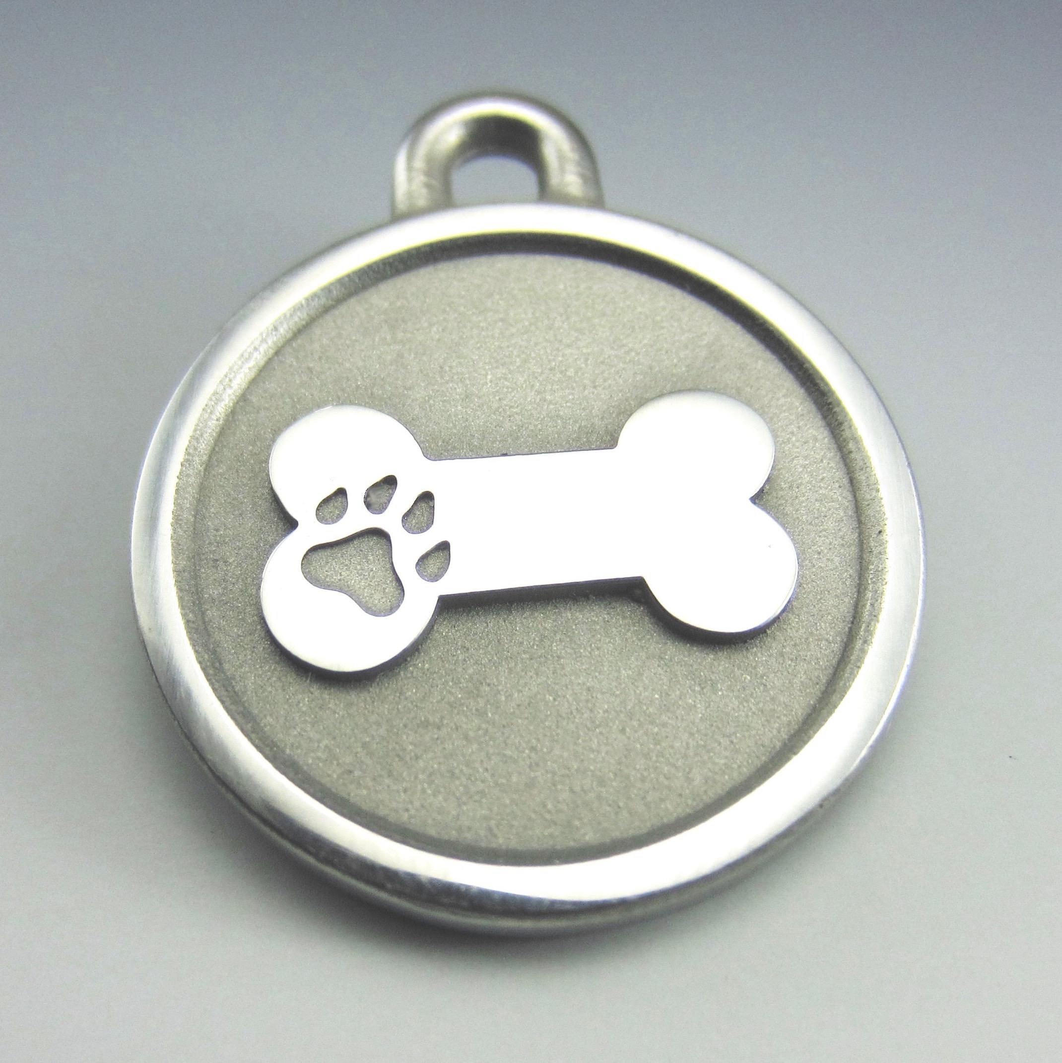 medium Stainless Steel Bone durable pet tag
