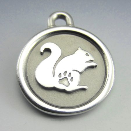medium stainless steel squirrel thick pet tag