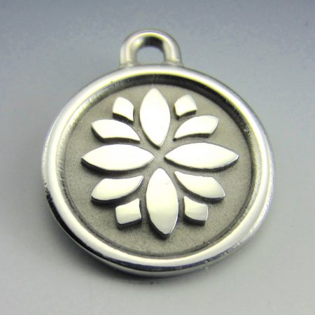 medium stainless steel lotus id tag deep engraving