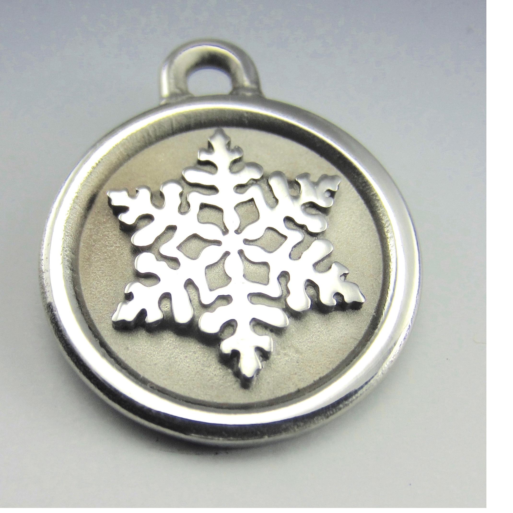 medium stainless steel snowflake id tag