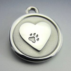 small stainless steel heart id tag