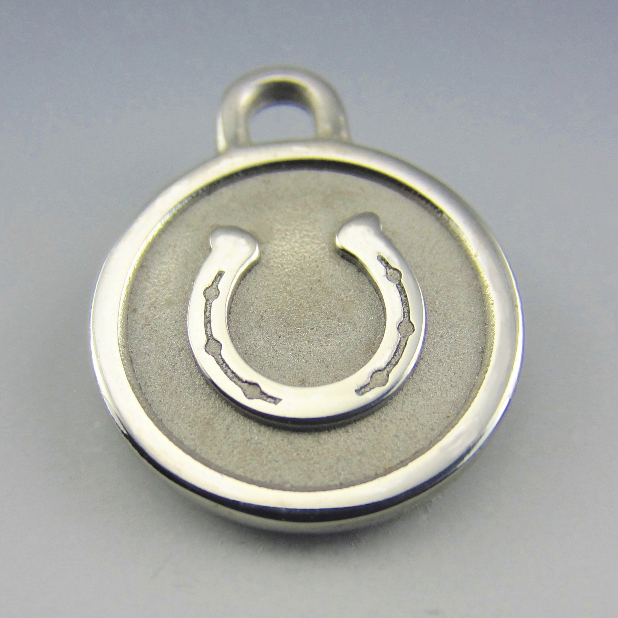 small stainless steel horse shoe id tag