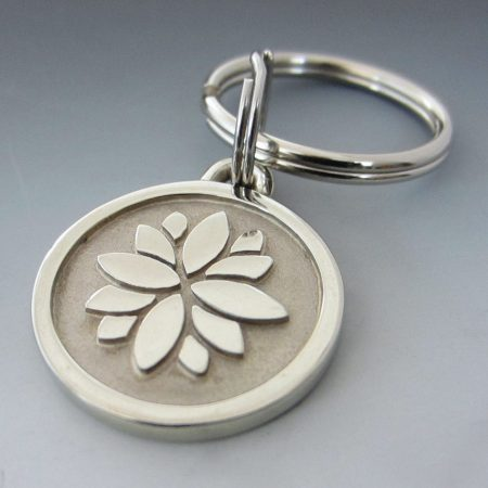 Stainless Steel Lotus Flower Keychain/ Small Made in USA