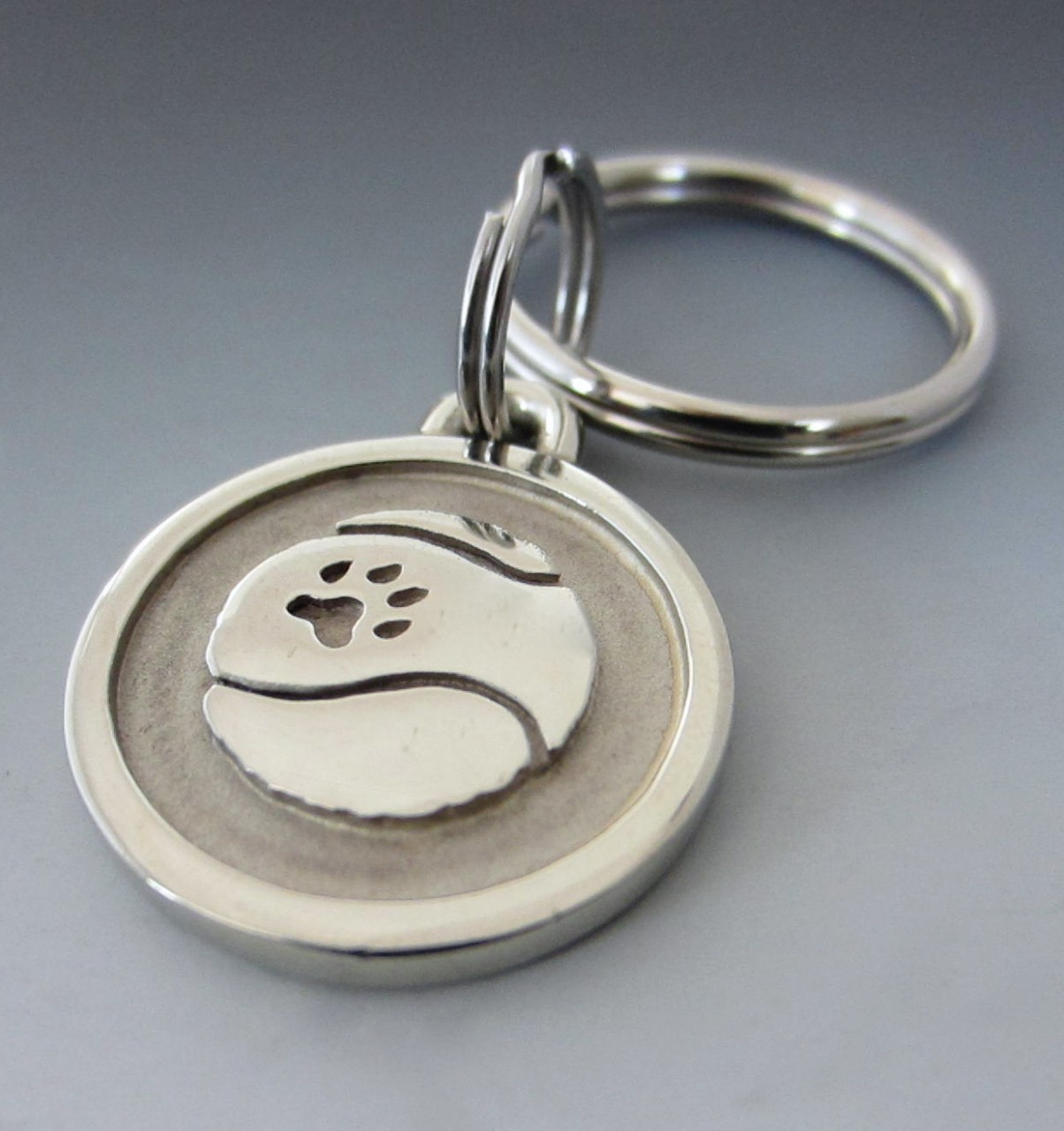 Small Stainless Steel Tennis Ball Pet Keychain