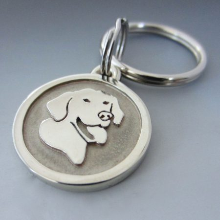 Small Stainless Steel Smiling Lab Pet Keychain