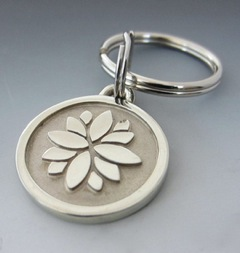 Large Stainless Steel Lotus Engraved Keychain