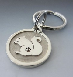 Large Stainless Steel Squirrel Engraved Pet Keychain